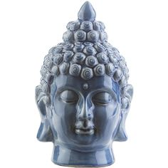 Surya Buddha Denim Accent ($48) ❤ liked on Polyvore featuring home, outdoors, outdoor decor, decor, filler, outdoor garden decor, outdoor patio decor, surya, buddha head statue and garden decor