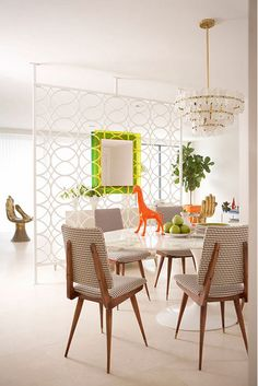 Modern/Mid Century Dining Room. cute chairs