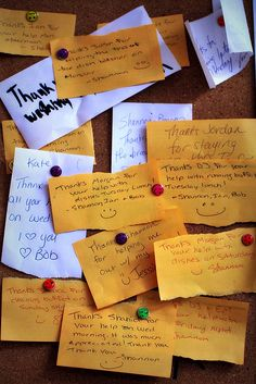 Gratitude board - I may have to do this as an ongoing project in my classroom, but have the students write things/people they're thankful for instead of thank you notes.  (Although that's a great idea, too, maybe for a church lobby.)