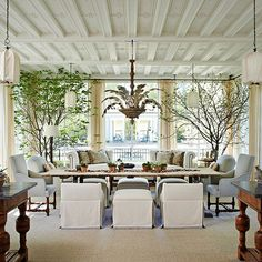 You wouldn't place a single chair or solo sofa in a very large sunroom, but very few homeowners pay that much attention to the overhead space in their outdoor-oriented areas: http://www.bhg.com/home-improvement/porch/sunroom-decorating-and-design-ideas/?socsrc=bhgpin051514sculpturalceilingelements&page=18