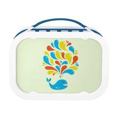 Bright Colorful Splash Happy Cartoon Whale Lunch Box