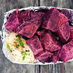 Beet home fries from East Side King.  What you get: Deep-fried beets, Kewpie mayo, shichimi togarashi, and green onion. 31 Delicious Austin Eats That Are Worth Every Penny