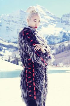 fashion editorials, shows, campaigns & more!: snow angel: soo joo park by miguel reveriego for us harper's bazaar september 2013 Snow Fashion, Fur Fashion, Fashion Shoot, Editorial Fashion, Winter Fashion, High Fashion, Travel Fashion, Ethnic Fashion, Fashion Face