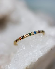 Sparkling Rainbow Ring – Lacee Alexandra Jewelry Solid Gold, White Gold, Rainbow Band, Everyday Rings, Topaz Gemstone, Wedding Bands, Sparkle, Beaded Bracelets, Just For You