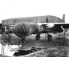 Arado Ar 234 on a muddy airfield, with the glass nose protected against the weather. Late WWII German bomber/recon.