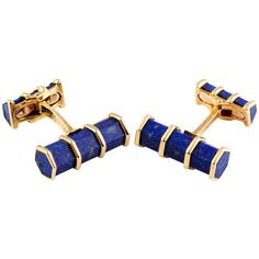Neiman Marcus French Lapis Gold Cufflinks | From a unique collection of vintage cufflinks at https://www.1stdibs.com/jewelry/cufflinks/cufflinks/