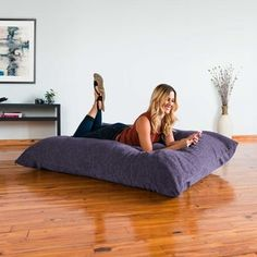 Shop for Jaxx Floor Pillow Bean Bag Lounger with Chenille Cover. Get free delivery On EVERYTHING* Overstock - Your Online Furniture Outlet Store! Teen Hangout Room, Bean Bag Pillow, Large Bean Bag Chairs, Bean Bag Lounger, Pillow Inspiration, Kids Bookcase, Cover Gray, Chenille Fabric, Floor Pillows