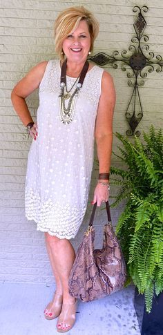 50 Is Not Old | Favorite Summer Outfit | Lace Dress | Leather Jewelry | Leather + Lace | Fashion over 40 for the everyday woman