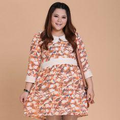 Vintage Clothing Plus Size Women | Vintage Fat Women Dress Big Plus size Clothing Female One-piece Lady ...