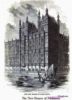 The New Houses of Parliament, London, UK.                               From:  1854 Pictorial History of London.                via Google Books (PD200)      suzilove.com