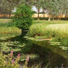 """River Gippling near Needham Market"" 12"" x 12""  David Smith Oil on Panel"