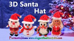 Rainbow Loom Santa Hat for Snowman/Penguin/Snata Claus/Barbie 3D - How to Loom Band Tutorial by Elegant Fashion 360.