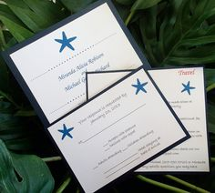 Destination wedding invitation, Beach invitation, Starfish invitation, Seaside invitation, Blue invitation, pink invitation, teal invitation. $3.50, via Etsy.