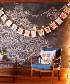Pine tree chalkboard wall - maybe I could do this on the wall in the lounge room entrance where the table is. How pretty