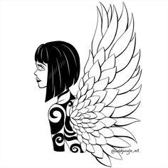 """Gloria Budzińska na Instagramie: """"Wings part 2/3. . #rysunek #dziewczyna #kreatywność #kreatywnie #rysowanie #artystycznie #szkicowanie #wacomintuos #wacom #ilustracje…"""""""