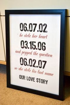 Photo Credit: prettyprintsshop on Etsy Tip of the Day: Display a sign at the reception with all of the meaningful dates in your relationship: when you met, when you got engaged, and, finally, when you tied the knot! After the wedding, you can hang it up in your home as a focal piece. You can also use the sign as a fun prop when taking anniversary photos.