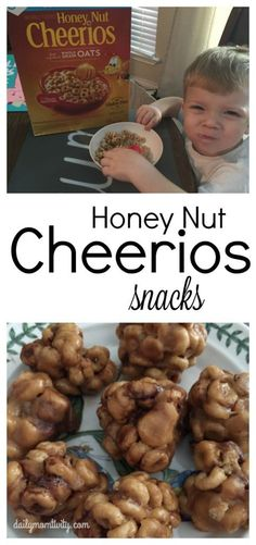 2 kid friendly snack ideas with Honey Nut cherrios! Cherrios Recipes, Cereal Recipes, Snack Recipes, Dessert Recipes, Desserts, Healthy Recipes, Cheerio Treats, Cereal Treats, Recipe With Honey Nut Cheerios