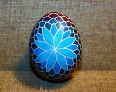 Blue Flower Pysanky Egg