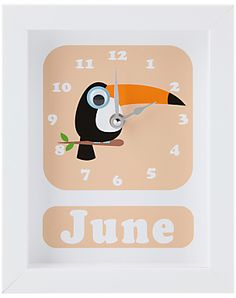 Stripey Cats Personalised Tilly Toucan Framed Clock, 23 x 18cm