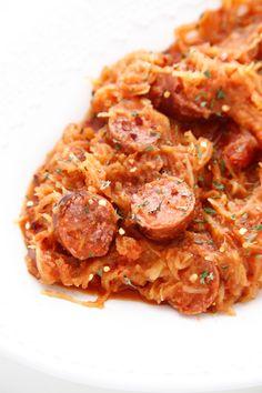 spicy kielbasa and spaghetti squash