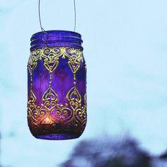 Hand Painted Mason Jar Lantern, Royal Purple Glass with Golden Detailing