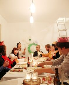 What a fun party! Dress up, eat good food, party poppers, paper crowns, silly gifts...great friends!