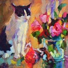 Don't just dream in vibrant color, learn how to paint with it. Image Chat, Bright Art, Acrylic Painting Lessons, Dragonfly Art, Cat Posters, Watercolor Cat, Animal Paintings, Cat Art, Art Pictures