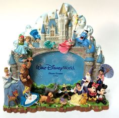 walt disney world photo picture frame castle w characters mickey princesses - Disney World Picture Frames