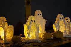 Ashbee Design: Wispy Ghosts • DIY Halloween Decoration using Plaster of Paris and Cheesecloth