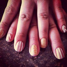 Our birthday girl Gina's fresh #shellac mani! #glitter