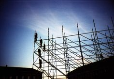 scaffolding, construction, sky, twilight, city, building, urban, sillouette, lines