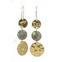 Gold and Labradorite Disc Earrings - $50