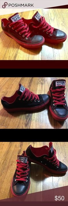 Converse men 7 shoes like new Red and black men converse size 7 worn once very comfy....have any questions please contact me Converse Shoes Sneakers