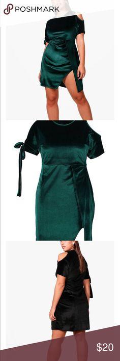 c41a231d9ed4 Boohoo Plus Jess Velvet One Shoulder Wrap Dress Beautiful BLACK velvet dress.  Everyone needs a little black dress. Never worn🤗 Boohoo Plus Dresses Mini