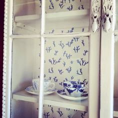 Old White and Greek Blue Cabinet with coral Annie Sloan stencil by Tea & Roses.