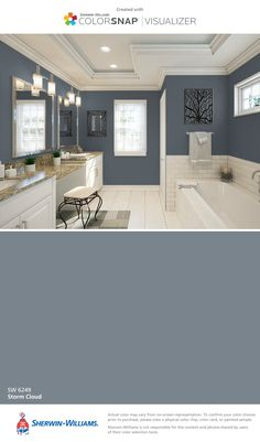 I found this color with ColorSnap® Visualizer for iPhone by Sherwin-Williams: Dorian Gray (SW ** Master Bath Bathroom Paint Colors, Interior Paint Colors, Paint Colors For Home, House Colors, Paint Colors For Living Room, Tan Paint Colors, Tan Bathroom, Bathroom Accent Wall, Gray Paint