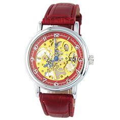 MapofBeauty Einfach und Exquisit Gold teilweise Ausgehöhlt Kunstleder Manuelle Mechanik Uhr(Rot) - http://uhr.haus/mapofbeauty/mapofbeauty-einfach-und-exquisit-gold-teilweise-4