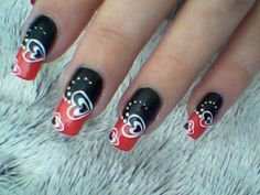 36 Romantic and Lovely Nail Art Design For Valentine's Day Red Nail Art, Red Nails, Black Nails, Hair And Nails, Red Art, Creative Nail Designs, Creative Nails, Nail Art Designs, Design Art