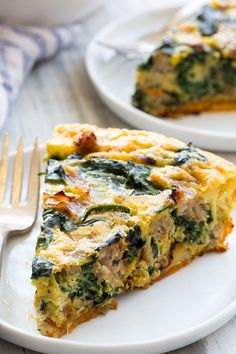 Sausage, Leek, and Spinach Quiche {Paleo, Whole30} | The Paleo Running Momma