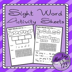 Sight Word Activity Sheets- 30 sheets with 5 words on each sheet.