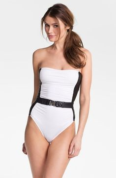 MICHAEL Michael Kors Belted Strapless Swimsuit White on shop.CatalogSpree.com, your personal digital mall.