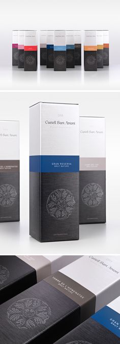 """CASTELL SANT ANTONICases for """"Castell Sant Antoni's"""" cava range.We worked on the basis of a common, custom box with color bands that remind us of the label of each product. Finish observations: printing in black and white and embossing, highlighted on F… Medicine Packaging, Bottle Packaging, Cosmetic Packaging, Brand Packaging, Label Design, Box Design, Branding Design, Package Design, Cosmetic Design"""