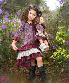 Charcoal & Pink Peonies High-Low Nina Dress & Doll Dress - Girls by Lilli Lovebird #zulily #zulilyfinds