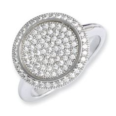 .925 Sterling Silver CZ Circle Ring Sterling Silver Jewelry Available Exclusively at Gemologica.com