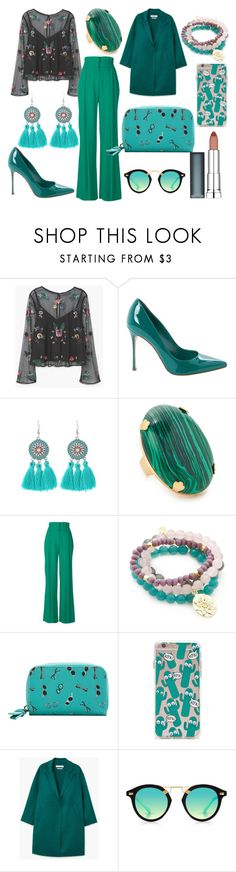 """Untitled #50"" by iulianaenache526 on Polyvore featuring MANGO, Sergio Rossi, Elizabeth Cole, MSGM, Good Charma, Forever 21, Krewe and Maybelline"