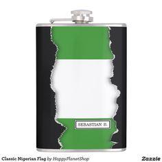 Classic Nigerian Flag Hip Flask
