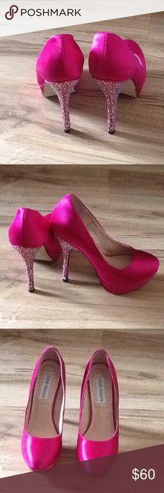 Steve Madden Heels Party Fuchsia Satin Shoes Heels