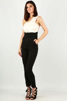 One Shoulder Satin Bodice Jumpsuit In Black & Cream