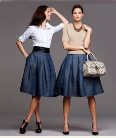 Already own the black skirt. Need to pair with blouse or sweater with flats.