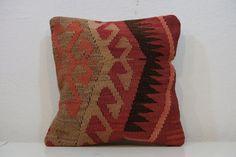 16x16 inchVİNTAGE HANDWOVEN Turkish Kilim Pillow by kilimci